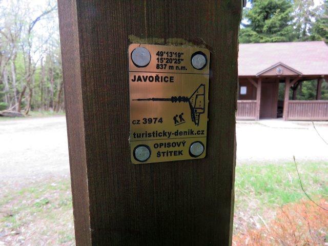 Opisový štítek – Javořice (3974)